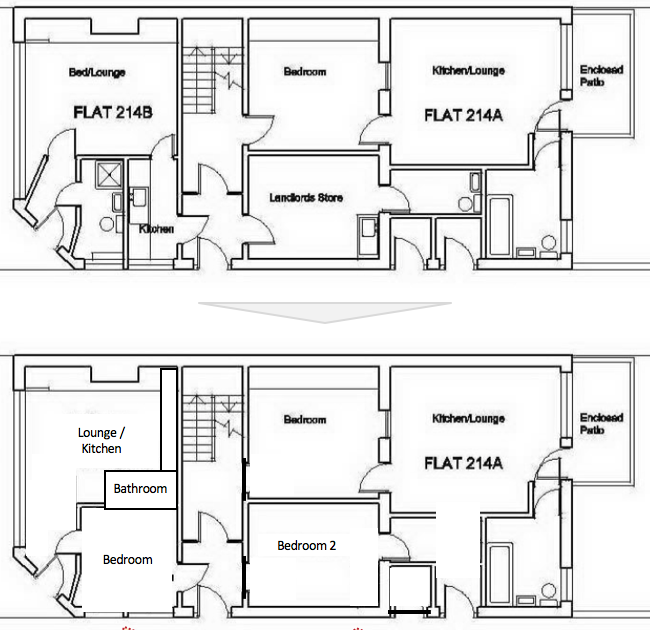 Floor Plan - Ground Floor.  Before and After